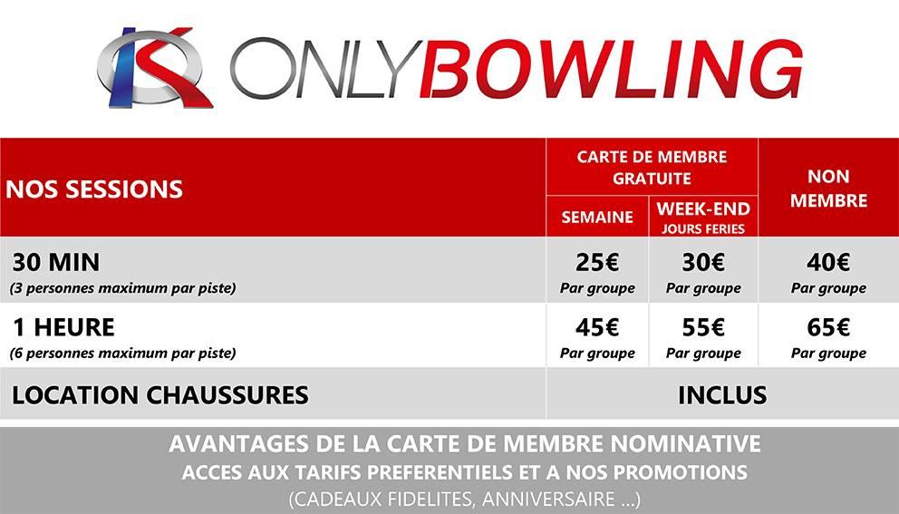 tarif bowling de la cotiere près de lyon