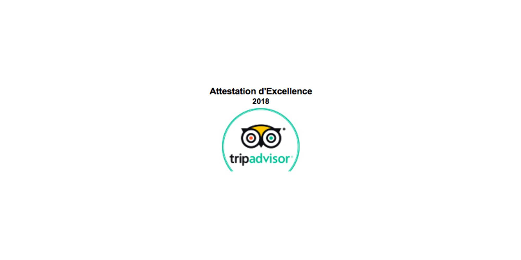 certificat d'excellence tripadvisor 2018 onlykart